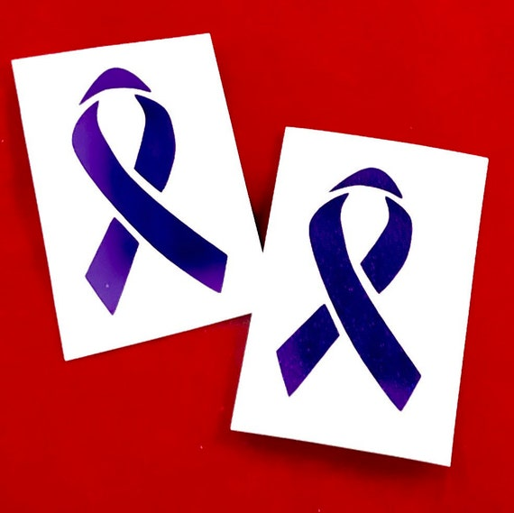 Pancreatic or Ovarian Cancer Ribbon decal; Hodgkin's Lymphoma, Prevention sticker, In memory of, Purple ribbon