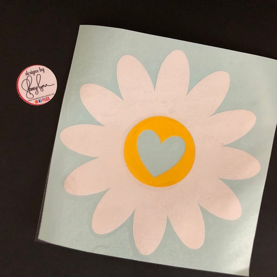 Daisy Decal, Flower sticker with heart center; waterproof sticker available in assorted sizes and colors