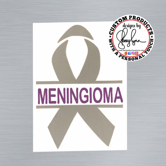 MENINGIOMA AWARENESS RIBBON decal | Brain Tumor Ribbon | Brain Cancer Awareness Ribbon | Grey & Purple ribbon