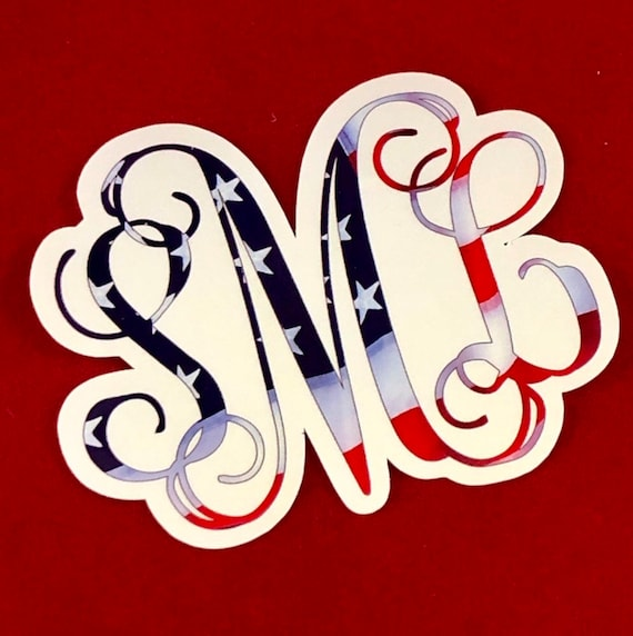 Waterproof Monogram American Flag Sticker