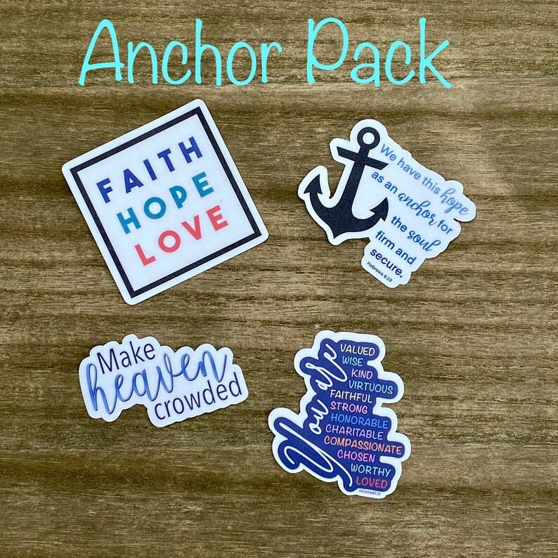Faith Hope Love Pack Christian Faith FOUR 2.5 inch Waterproof image 0