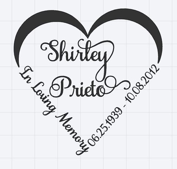 Personalized Heart Memorial Decal; waterproof sticker available in assorted sizes and colors