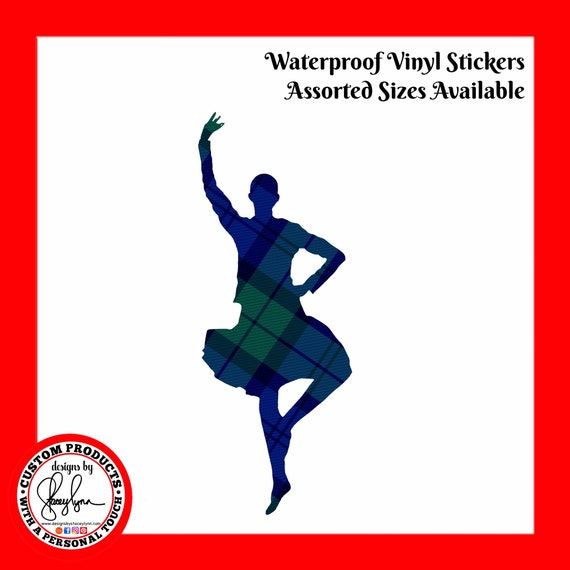 HIGHLAND DANCER STICKER- Waterproof, tear-resistant, vinyl decal available in assorted sizes or full sheets