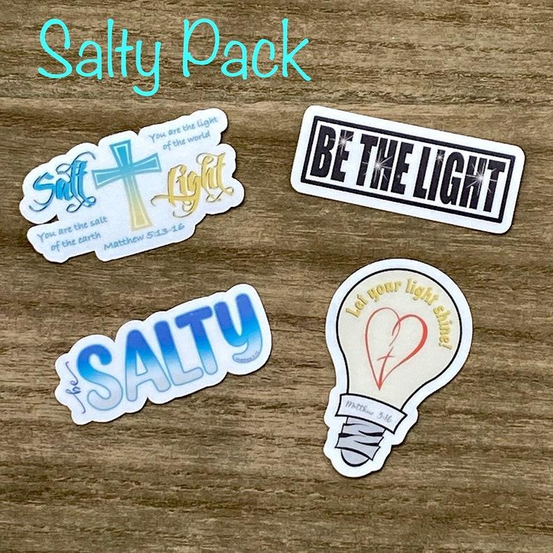 Salt & Light Sticker Pack Christian Faith FOUR 2.5 inch image 0