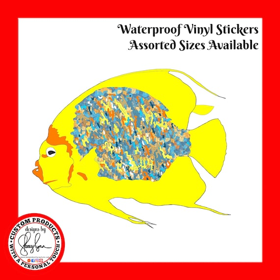TROPICAL FISH STICKER- Waterproof, tear-resistant, vinyl decal available in assorted sizes or full sheets
