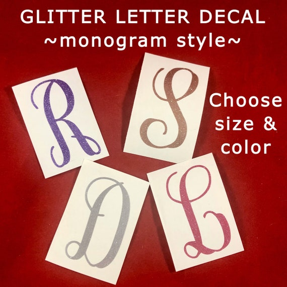 Premium GLITTER Letter decal | Choose size & color | Stickers for Yeti cups, tumblers, mugs, water bottles, cars, laptops and devices