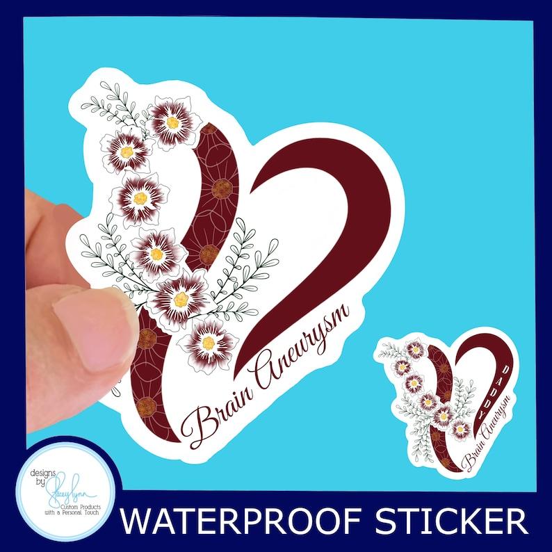 Brain Aneurysm Awareness Waterproof Sticker  Original Design image 0