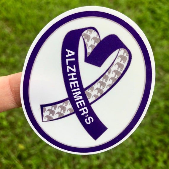 Alzheimer's Awareness Sticker- Purple with Elephants Waterproof, tear-resistant, vinyl decal available in assorted sizes or full sheets