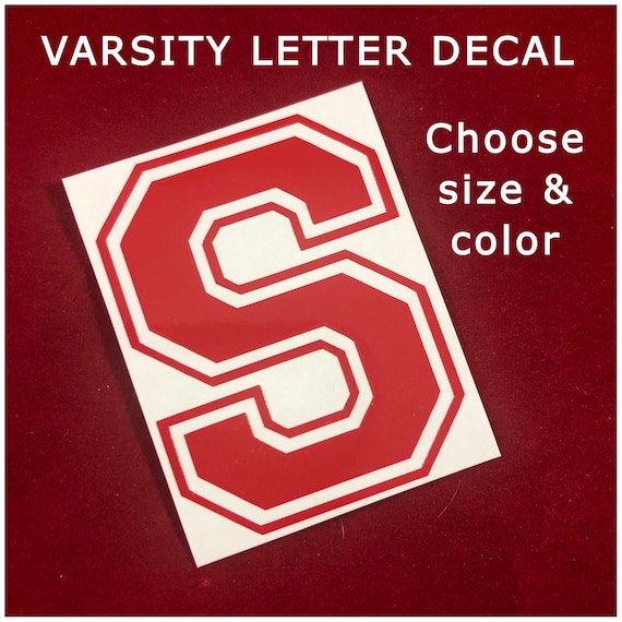 Varsity Letter or Number Decal, Choose size & color, waterproof