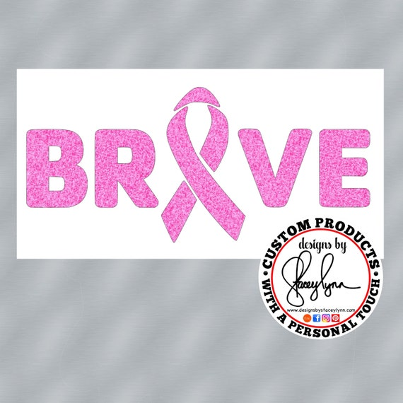 GLITTER BRAVE Cancer Awareness Ribbon Decal  | Awareness decals for Yeti cups, tumblers, mugs, water bottles, cars, laptops and devices