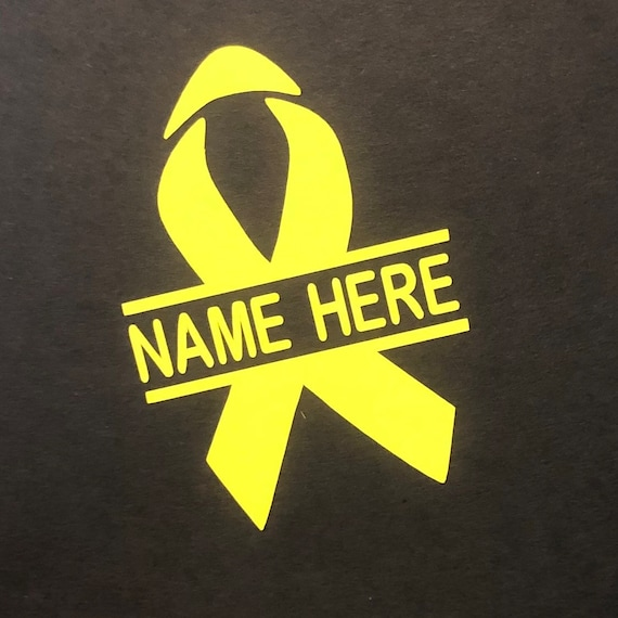 CHILDHOOD CANCER Personalized Awareness Ribbon Decal | Yellow Ribbon