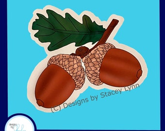 Acorns - Fall Window Window Cling, removable, repositionable white vinyl