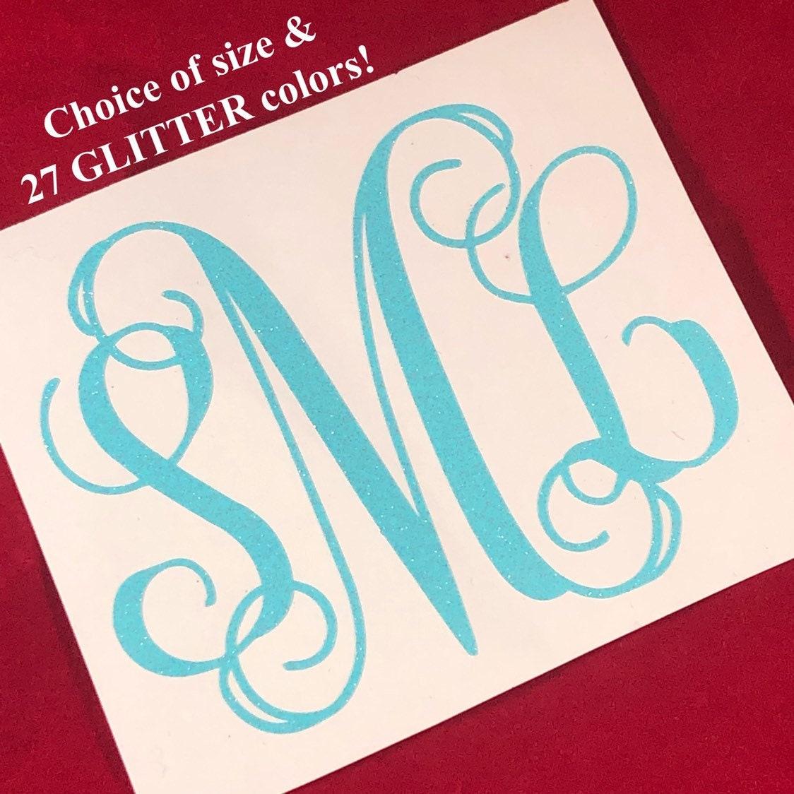 Premium GLITTER Monogram   Decals for Yeti cups, tumblers
