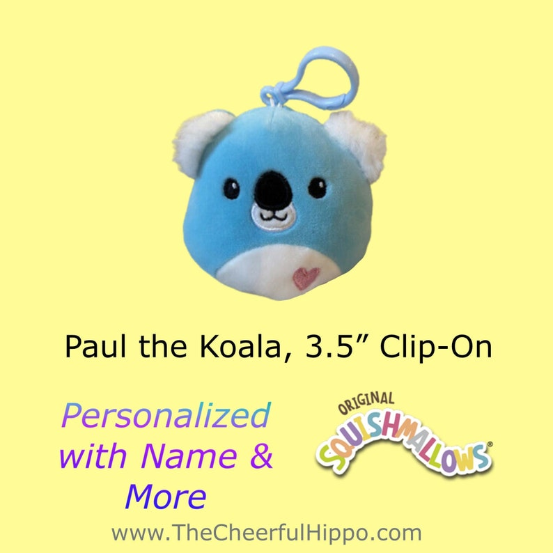 CUSTOM SQUISHMALLOW 3.5 inch clip on-Paul the Koala-add name image 0
