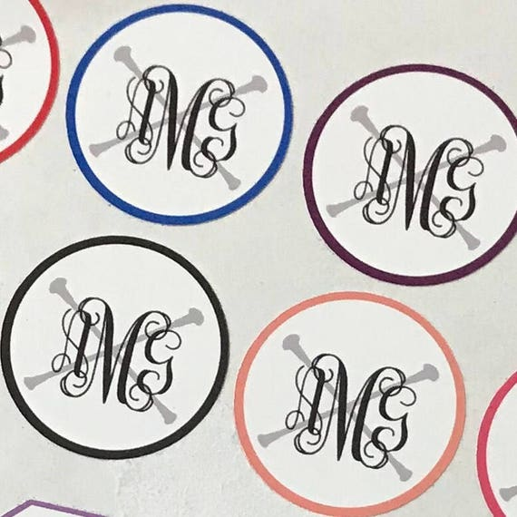 BATON MONOGRAM STICKERS | Twirler Sticker Sheet | Monogram envelope seals | Round Monogram stickers | Free Shipping