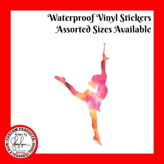 BATON TWIRLER STICKER Waterproof tear-resistant vinyl decal in assorted sizes