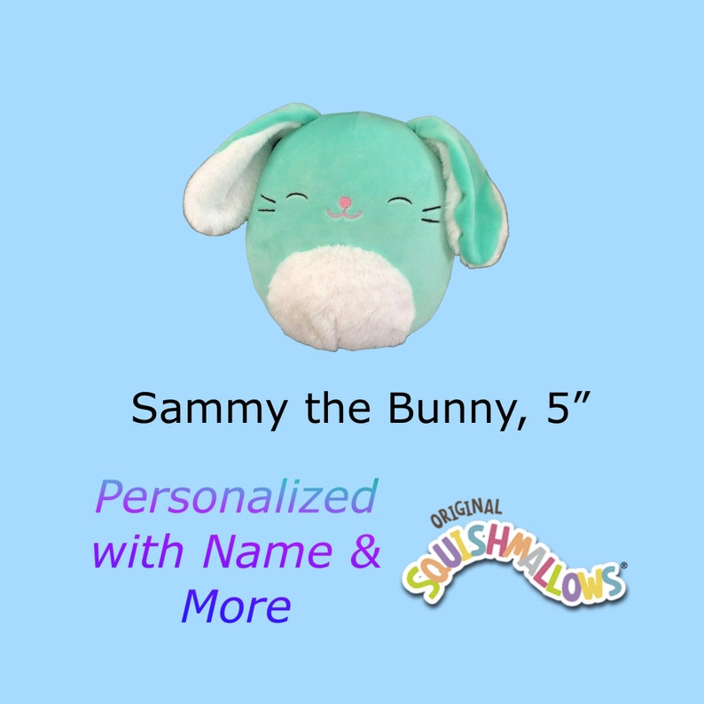 CUSTOM SQUISHMALLOW Sammy the Bunny 5 inch  with first name image 0