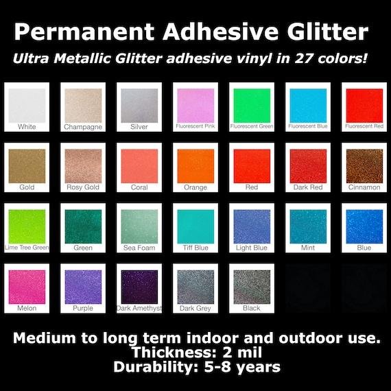 "Ultra Glitter Adhesive Vinyl | 12""x12"" | Permanent Outdoor Vinyl | Glitter Vinyl | UV Safe | PVC Film"