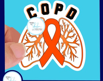 COPD Waterproof Sticker - Use for Hydroflask, Water bottle, Laptop, Car Window, Laminated, Choice of Size