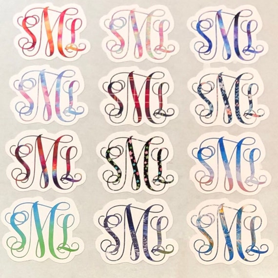 Waterproof Monogram Sticker | watercolor, plaid, floral, stars or beach designs