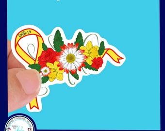 COVID 19- Corona Virus Awareness Ribbon Waterproof Sticker - Use for Hydroflask, Water bottle, Laptop, Laminated & Choice of Size