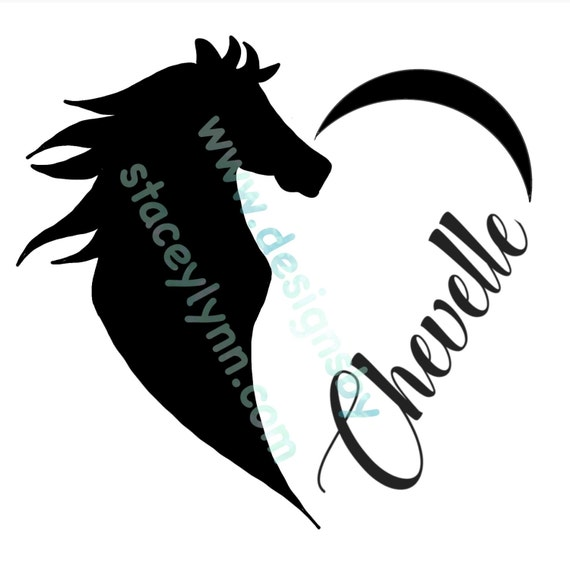 GLITTER Horse Love decal with name; waterproof sticker available in assorted sizes and colors