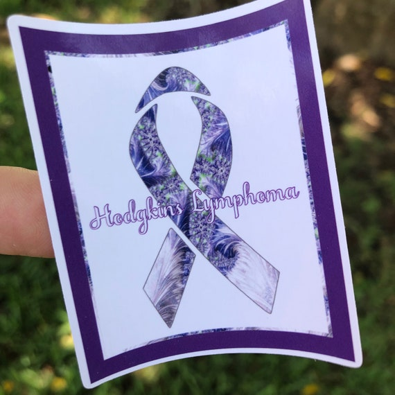 Hodgkin's Lymphoma Purple awareness ribbon Sticker- Waterproof, tear-resistant, vinyl decal available in assorted sizes or full sheets