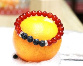 Carnelian and Lava Stretch Bracelet, Reiki Bracelet, Courage Stone, Sacral Chakra Crystal, Motivation, Stone of Ambition, Healing Bracelet