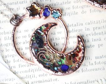 Electroformed Moon Orgonite - Powerful Amulet - Orgone EMF Protection - Orgone Necklace - Orgone Pendant - Crescent Moon - Reiki - Yoga - Uk