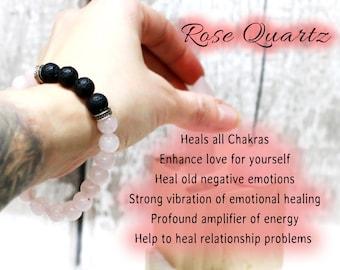 Rose Quartz Diffuser Bracelet with Lava stones, Love Gemstone 8mm Rose Quartz Beaded Bracelet, Crystal Jewellery, Mental Health Bracelet, UK