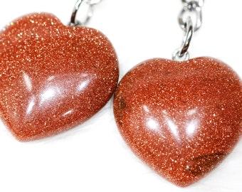 Heart Goldstone Keyring, Crystal Keychain, Heart Crystal, Gift for Him, Gift For Her, Crystal Lover, Reiki, Yoga Gift, Holistic Gift