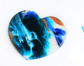 Resin Art - Heart Wall Hanging - Valentines Day Gifts - Gift for Her- Gift for Him - Resin Artwork - Abstract -Wall Decor -Handmade In Uk