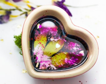 Valentines Gift For Her - Heart Trinket Dish - Jewellery Dish - Valentines Day Gift - Heart - Ring Dish - Ceramic Dish - Resin Dish - UK