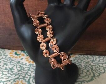 Delicate Copper Swirl and Loop Bracelet