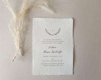 Gold Foil Wedding Invitation, Wreath, Monogram, Deckled, Torn edge, Minimal, Tilly Sample