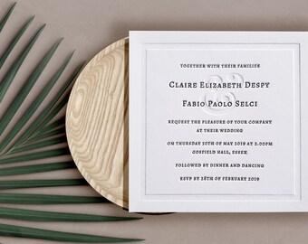 Letterpress Wedding Invitations, Traditional, Simple, Elodie sample