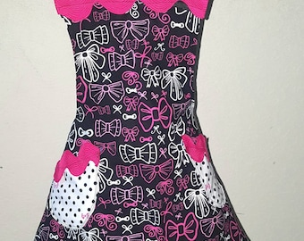 Hello Bows! Black, Hot Pink, and White Cooking Apron Crafting Apron Size 5-6