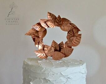 Copper Leaves Cake Topper ~ Copper Wedding Cake Topper ~ Rustic Wedding Cake Topper ~ Garden Wedding Cake Topper ~ Copper Wedding ~ Copper