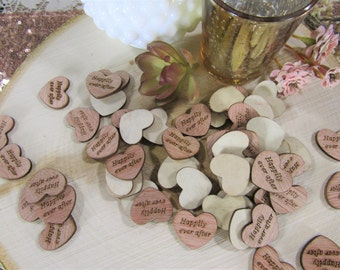 """100 """"Happily Ever After"""" Hearts ~ 1"""" Wood Hearts ~ Wedding Decor ~ Wedding Confetti ~ Wooden Confetti ~ Wedding Invitations"""