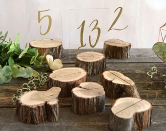 10 Log Table Number Holders ~ Rustic Wedding Table Numbers ~ (TN2001)
