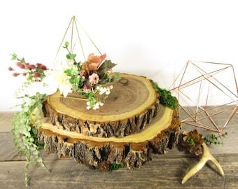 "Gorgeous Mossy Woodland Cake Stand ~ Cupcake Stand~10"" Cake Stand~Rustic Wedding, Rustic Cake Stand, Log Cake Stand ~ Garden Wedding CS5005"