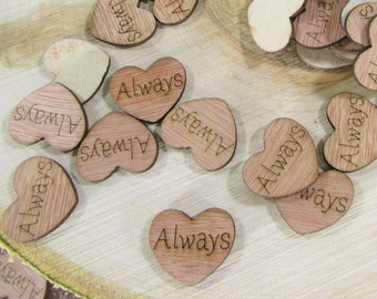 """100 """"Always"""" Hearts ~ 1"""" Wood Hearts ~ Wedding Decor ~ Wedding Confetti ~ Wooden Confetti ~ Wedding Invitations ~ Summer Wedding"""