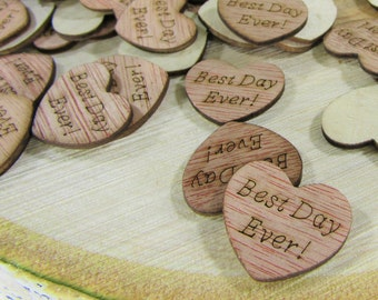 """100 """"Best Day Ever!"""" Hearts ~ 1"""" Wood Hearts ~ Wedding Decor ~ Wedding Confetti ~ Wooden Confetti ~ Wedding Invitations"""