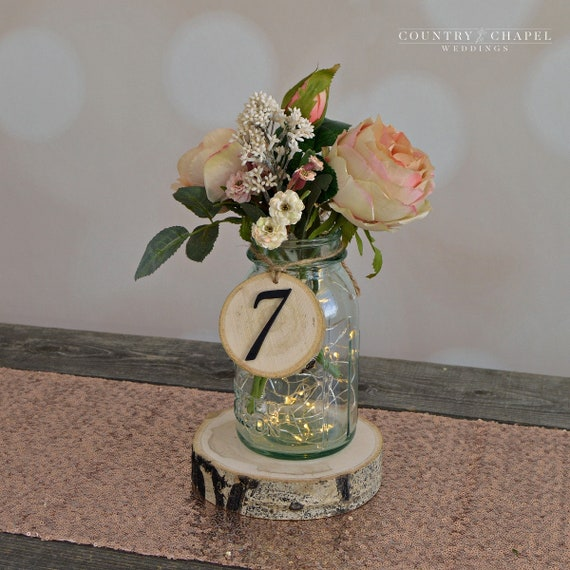 Rustic Wedding Tree Slice Table Numbers Spring Wedding Diy Etsy