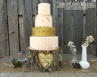 personalised tree trunk wedding cake stand tree stump table etsy 18224