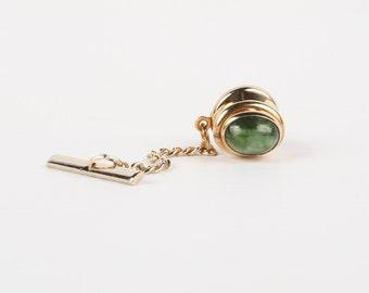 a64b3da51281 Green Stone Tie Tack Bezel Set Nephrite Oval Cabochon Gold Tone Tie tack,  Excellent Cond., 10mm H X 8mm W, No Maker Mark.
