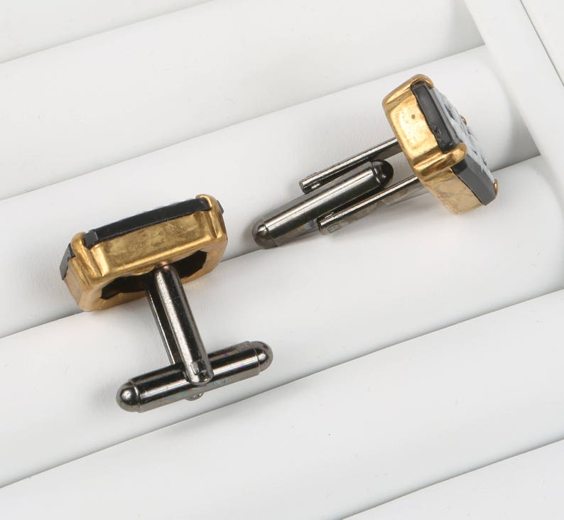 Greek Cuff Links Black and White Lucite Greek Chariot Rectangular Bezel set in Brass Cuff links Excellent VTG Cond. 1116 X 12.