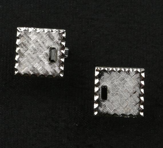 Tie Tack and Shirt Button Studs Square Textured Silvertone Swirl Onyx Cuff Links Cufflinks