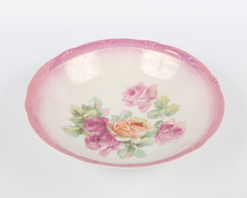 German Roses Bowl Made in Germany Embossed Pink Edge Porcelain Bowl with Pink Peach Green Roses Excellent VTG Cond. 8 Diameter X 1-78 H