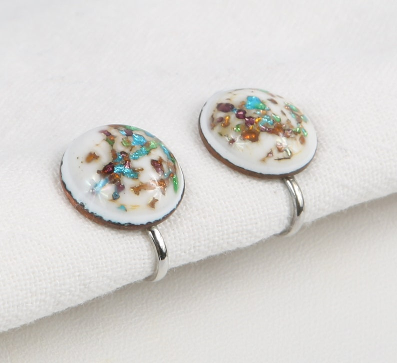 Brown Foil in White Glass Cabochon Button Screw Back Earrings Excellent Cond Green Art Glass Earrings Blue Silver Tone Findings.